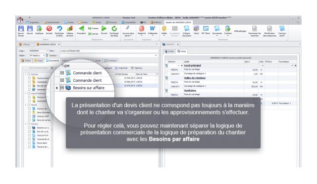 Capture d'écran Biloba - Nouvelle fonction de gestion des besoins par affaires