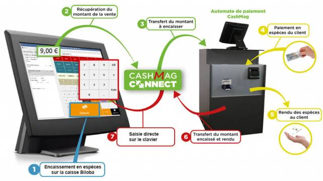 Schéma de fonctionnement entre la caisse Biloba et un monnayeur Cash Mag