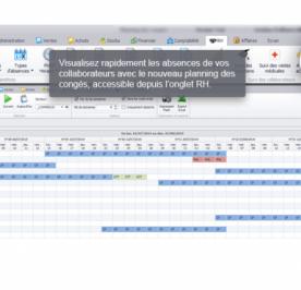 Capture d'écran du logiciel Biloba : Nouveau planning des congés