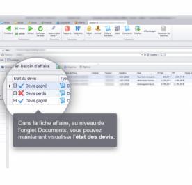 Capture d'écran Biloba : Ajout des statuts de devis