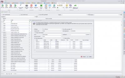 Capture écran de la gestion des évolutions tarifaires groupées dans Biloba