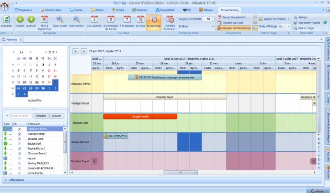 Capture d'écran de Biloba : logiciel de gestion planning
