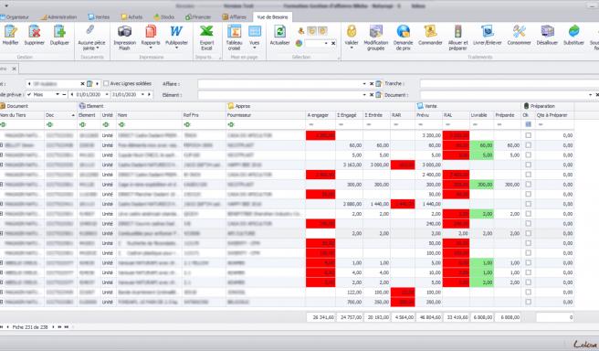 Capture d'écran du calcul des besoins en stock dans l'ERP Biloba