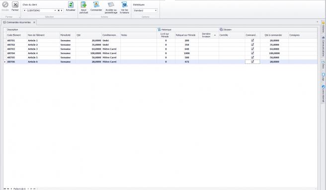 Capture d'écran : Biloba : Gestion des achats : commandes récurrentes