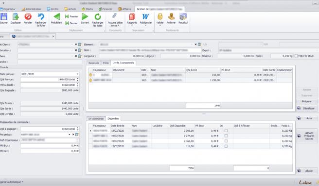 Capture d'écran d'une fiche détaillé d'un besoin de stock