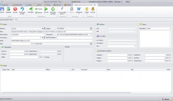 Capture d'écran d'une entrée manuelle en stock d'un article sur le logiciel Biloba