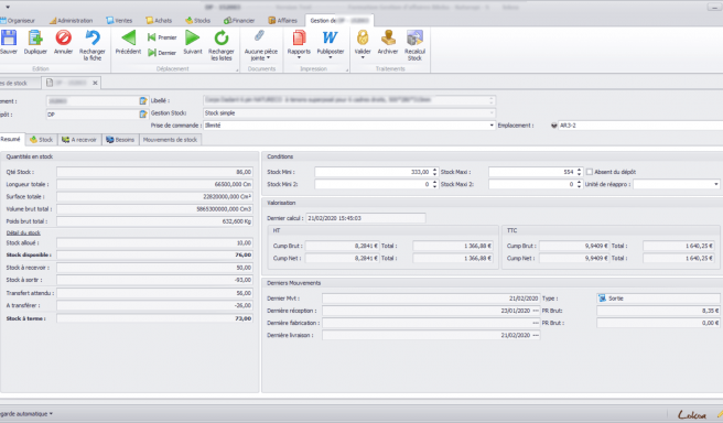 Capture d'écran d'une fiche de stock d'un article sur le logiciel Biloba