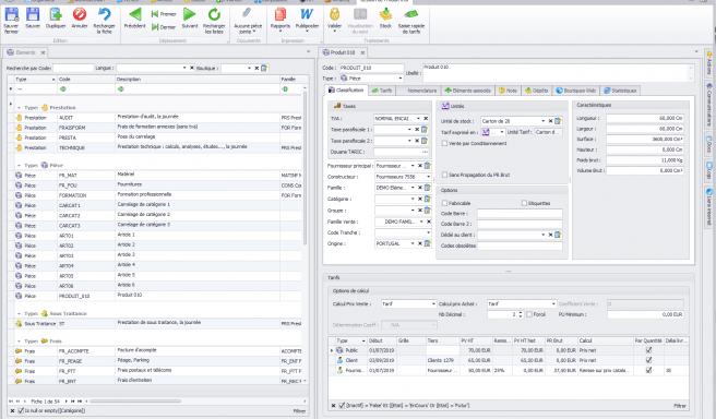 Capture d'écran Biloba - Gestion des différents articles à la vente
