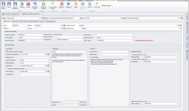 Capture d'écran Biloa - Création et gestion des contrats de maintenance