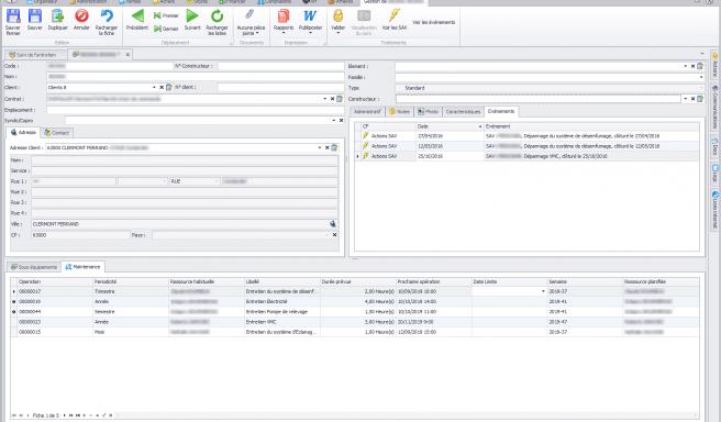 Capture d'écran Biloba - Suivi des interventions de maintenance et SAV