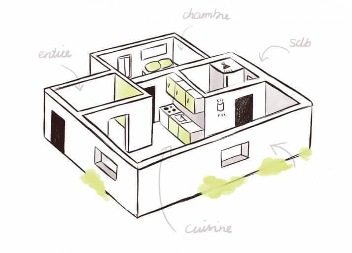 Illustration pour la solution Bâtiment, Agencement, Suivi de chantier de l'ERP Biloba